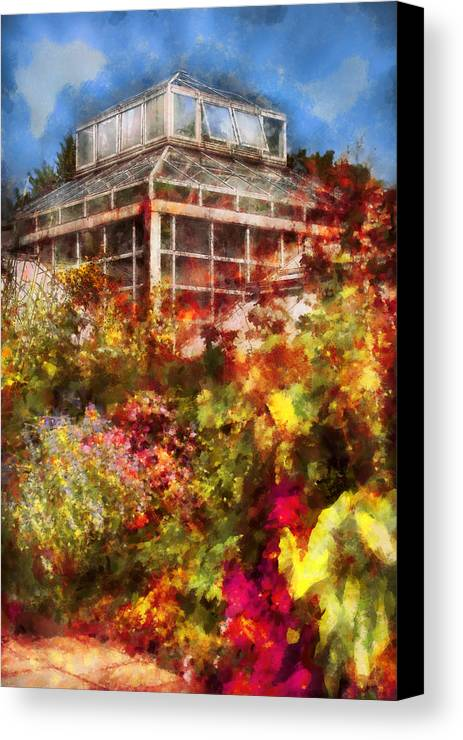 Savad Canvas Print featuring the digital art Greenhouse - The Greenhouse And The Garden by Mike Savad