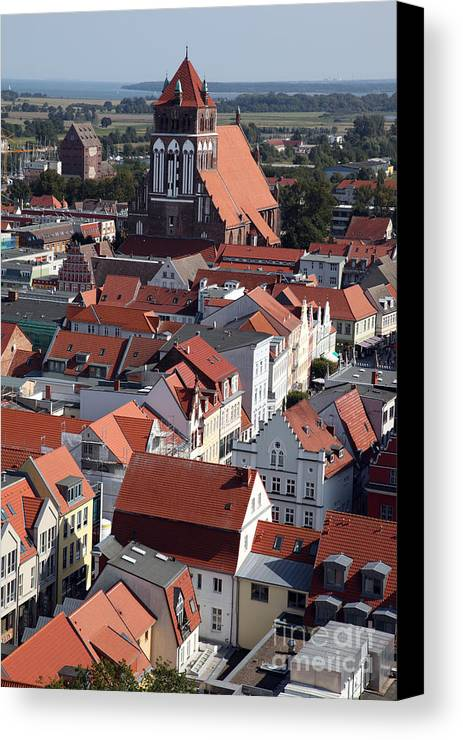 Greifswald Canvas Print featuring the photograph Greifswald Roofscape Pomerania by Ros Drinkwater