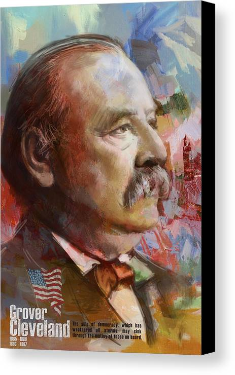 Grover Cleveland Canvas Print featuring the painting Grover Cleveland by Corporate Art Task Force