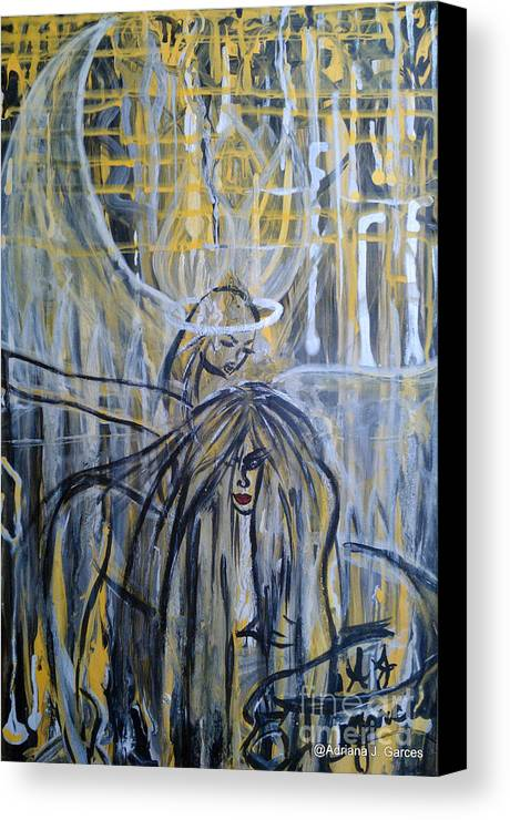 Figurative-abstract Canvas Print featuring the painting Guardian Whisper by Adriana Garces