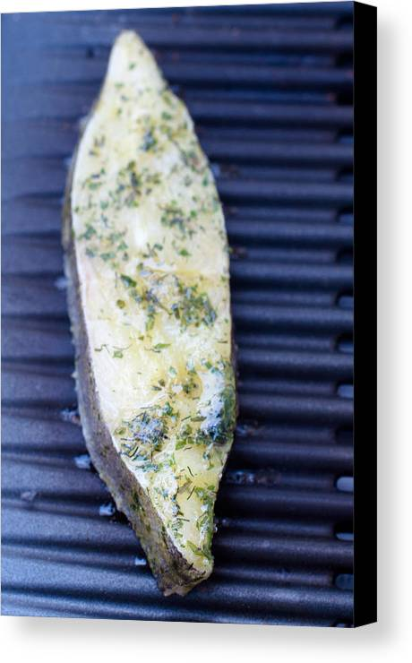 Halibut Canvas Print featuring the photograph Halibut Fillet On Bbq by Frank Gaertner
