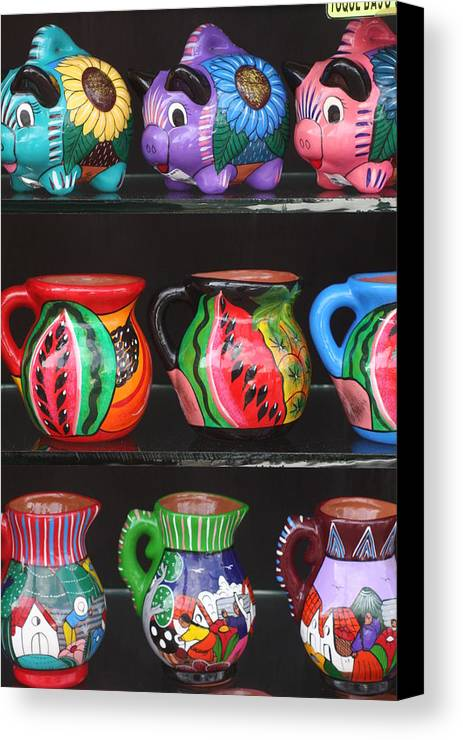 Mexico Canvas Print featuring the photograph Hand Painted Ceramics Playa Del Carmen Mexico by Lee Vanderwalker