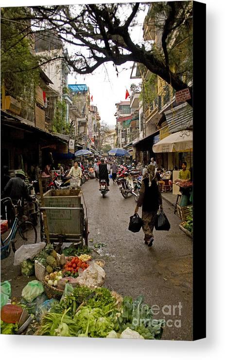 Hanoi Street Market Canvas Print featuring the photograph Hanoi Street Market  by J L Woody Wooden