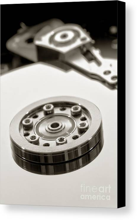Computer Canvas Print featuring the photograph Hard Drive by Olivier Le Queinec