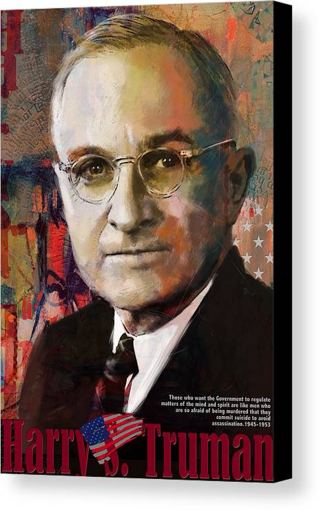 Harry S. Truman Canvas Print featuring the painting Harry S. Truman by Corporate Art Task Force