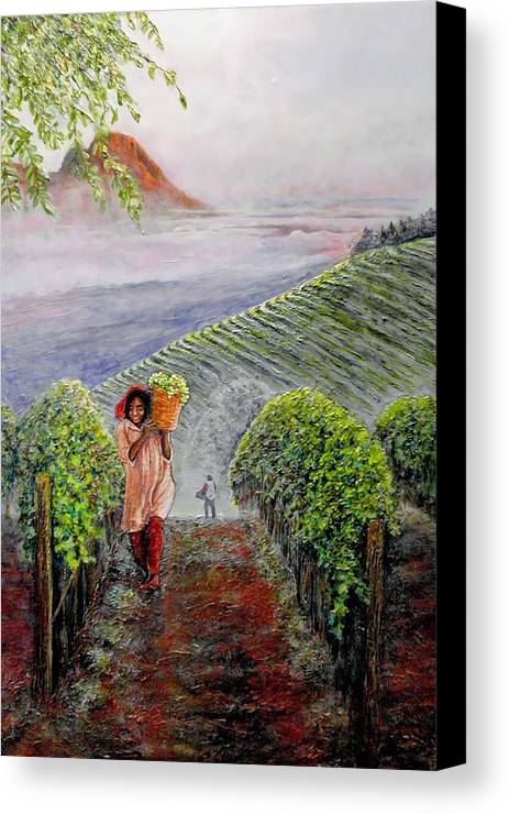 Vineyard Canvas Print featuring the painting Harvest At Dawn by Michael Durst