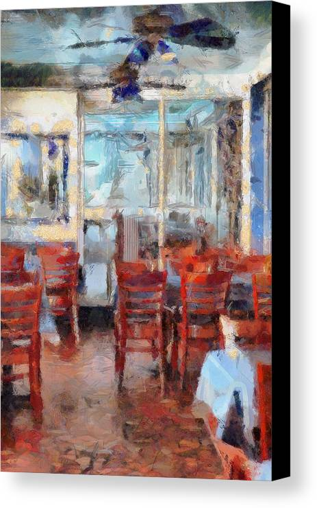 Hellas Restaurant And Bakery Canvas Print featuring the painting Hellas Restaurant And Bakery by L Wright