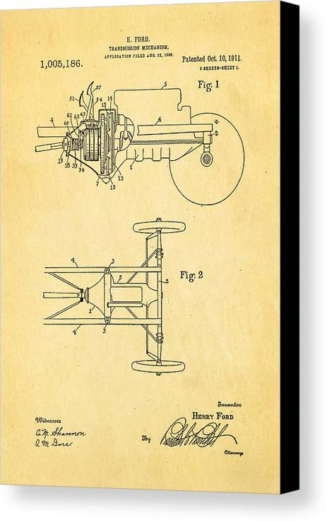 Automotive Canvas Print featuring the photograph Henry Ford Transmission Mechanism Patent Art 1911 by Ian Monk