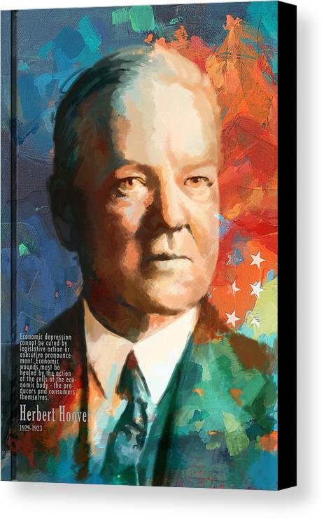 Herbert Hoover Canvas Print featuring the painting Herbert Hoover by Corporate Art Task Force