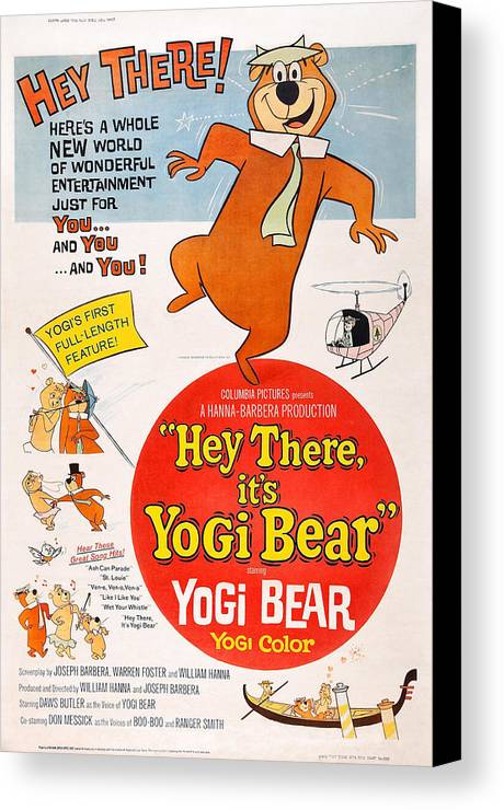 1964 Movies Canvas Print featuring the photograph Hey There, Its Yogi Bear, Top Right by Everett