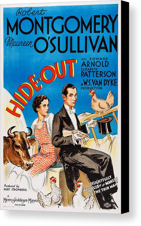1930s Movies Canvas Print featuring the photograph Hide-out, From Left Maureen Osullivan by Everett
