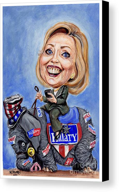 Hillary Clinton Canvas Print featuring the painting Hillary Clinton 2016 by Mark Tavares
