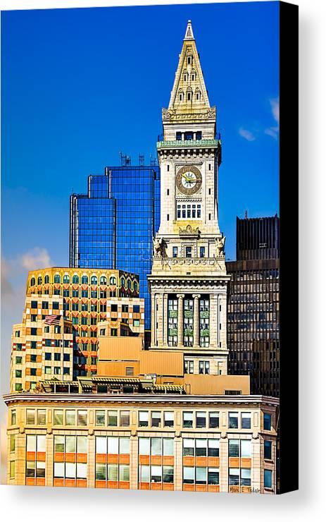 Boston Skyline Canvas Print featuring the photograph Historic Custom House Clock Tower - Boston Skyline by Mark E Tisdale