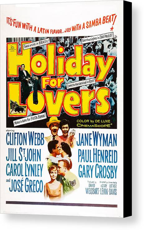 1950s Poster Art Canvas Print featuring the photograph Holiday For Lovers, Us Poster Art by Everett