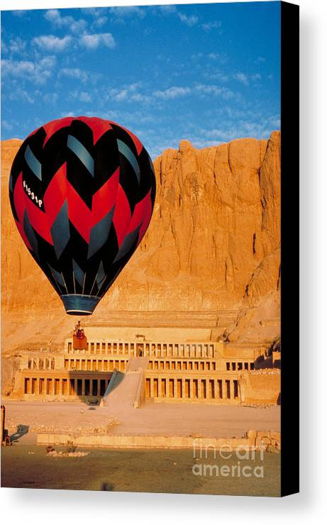 Travel Canvas Print featuring the photograph Hot Air Balloon Over Thebes Temple by John G Ross