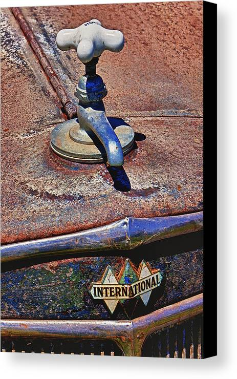 Hot Faucet Canvas Print featuring the photograph Hot Faucet Hood Ornament by Garry Gay