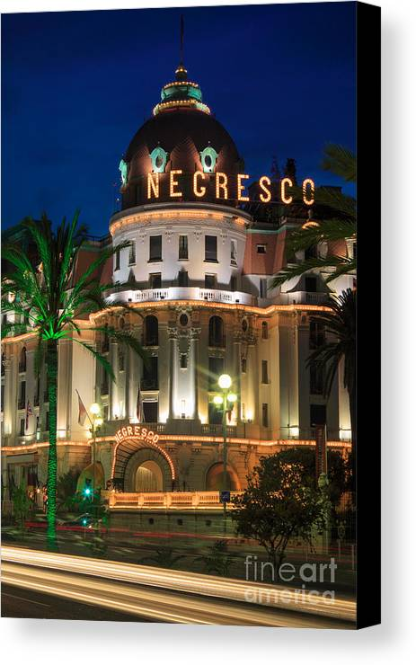 Cote D'azur Canvas Print featuring the photograph Hotel Negresco By Night by Inge Johnsson