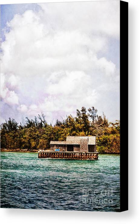 House; Houseboat; Water; Floating; Island; Deserted; Tropical; Waterfront; Bahamas; Shallow; Blue; Sky; Clouds; Deck; Trees; Building; Wood; Chairs; Outside; Outdoors; Exterior; Cottage; Home; Tropics; Ocean; Sea; Lake Canvas Print featuring the photograph House Boat by Margie Hurwich