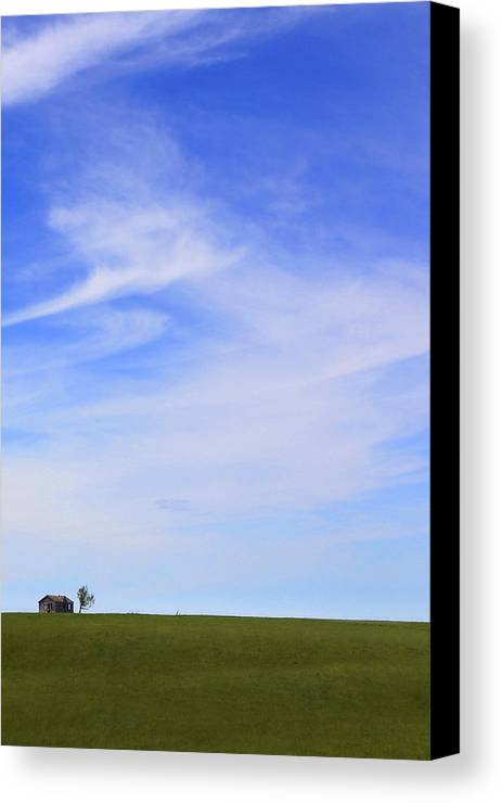 Interesting Clouds Canvas Print featuring the photograph House On The Hill by Mike McGlothlen