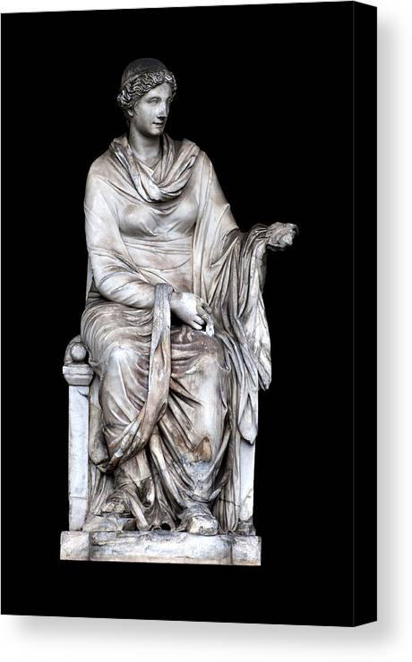 Black Background Canvas Print featuring the photograph Hygieia by Fabrizio Troiani