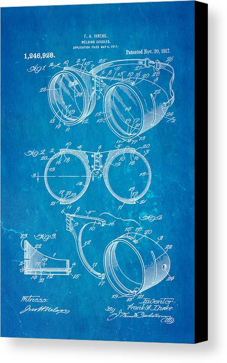 Ihrcke welding goggles patent art 1917 blueprint canvas print construction canvas print featuring the photograph ihrcke welding goggles patent art 1917 blueprint by ian monk malvernweather Images