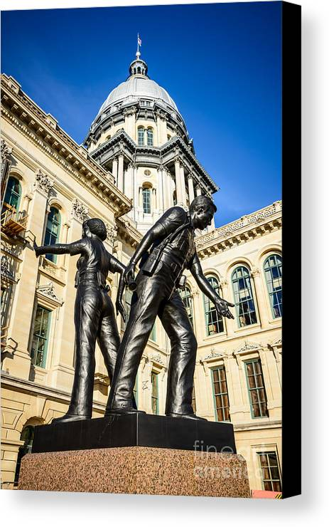 Illinois Canvas Print featuring the photograph Illinois Police Officers Memorial In Springfield by Paul Velgos
