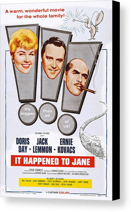 1950s Poster Art Canvas Print featuring the photograph It Happened To Jane, L-r Doris Day by Everett