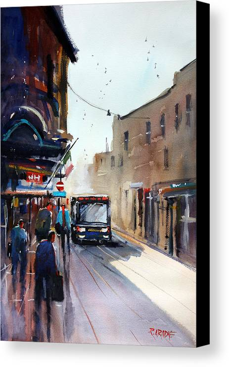 Ryan Radke Canvas Print featuring the painting Italian Bus Stop by Ryan Radke