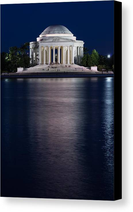 Washington Canvas Print featuring the photograph Jefferson Memorial Washington D C by Steve Gadomski