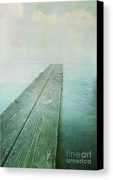 Photomanipulation Canvas Print featuring the photograph Jetty by Priska Wettstein