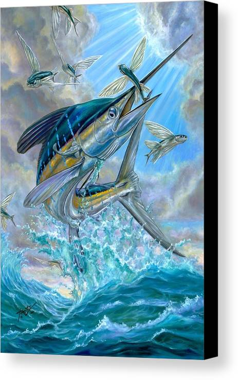 White Marlin Canvas Print featuring the painting Jumping White Marlin And Flying Fish by Terry Fox