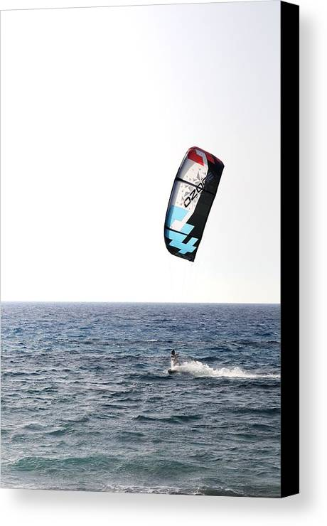 Lefkada Canvas Print featuring the photograph Kiteboarding by Daniel Marius Aron