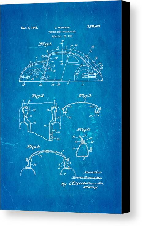 Automotive Canvas Print featuring the photograph Komenda Vw Beetle Body Design Patent Art 1945 Blueprint by Ian Monk