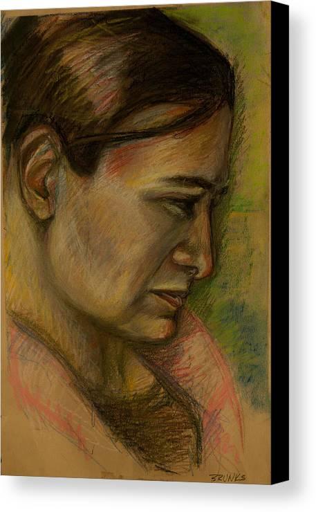 Portrait Canvas Print featuring the pastel Kristen by Christa Brunks