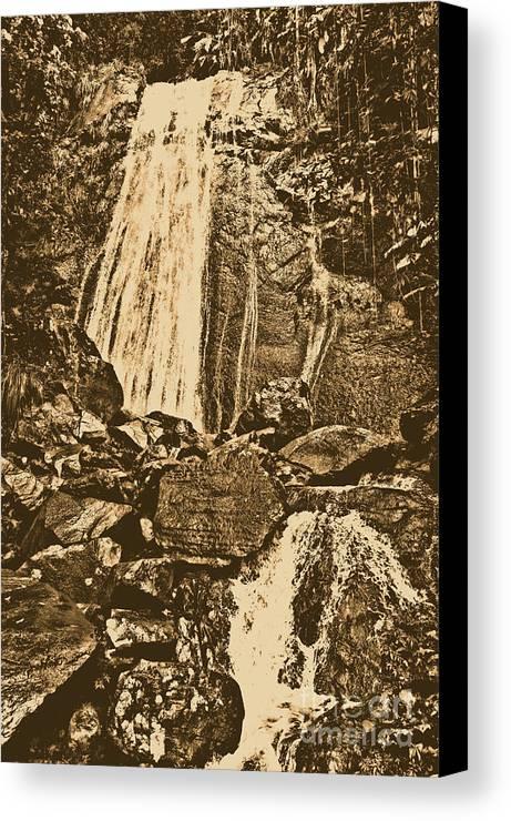 Travelpixpro Puerto Rico Canvas Print featuring the photograph La Coca Falls El Yunque National Rainforest Puerto Rico Prints Rustic by Shawn O'Brien
