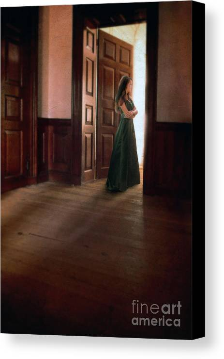 Beautiful Canvas Print featuring the photograph Lady In Green Gown In Doorway by Jill Battaglia