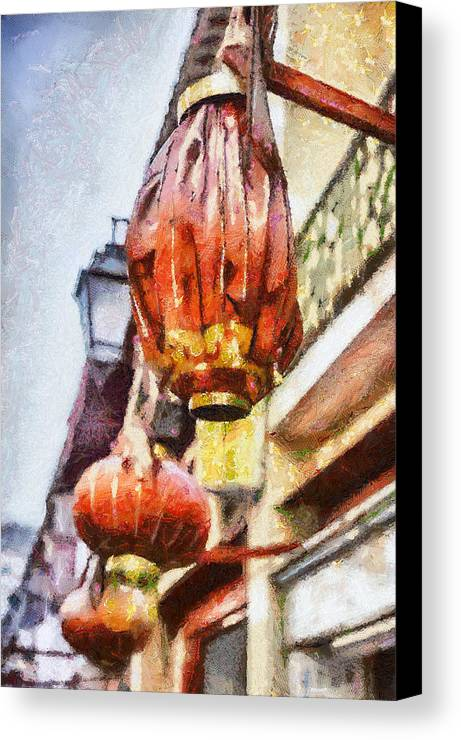 Lanterns Canvas Print featuring the painting Lanterns In Macau by Patricia Soon