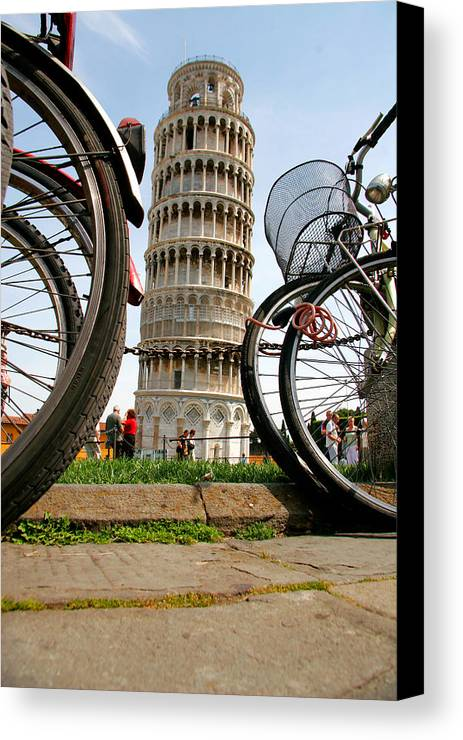 Architecture Canvas Print featuring the photograph Leaning Bicycles Of Pisa by Peter Tellone