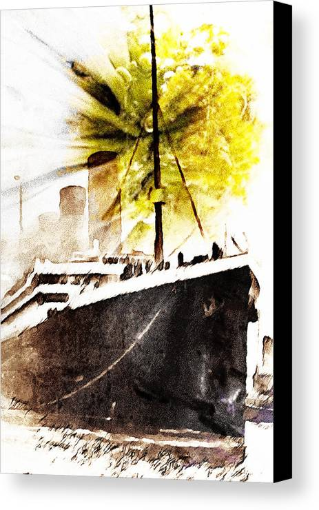 Leaving Canvas Print featuring the digital art Leaving Ship by Andrea Barbieri
