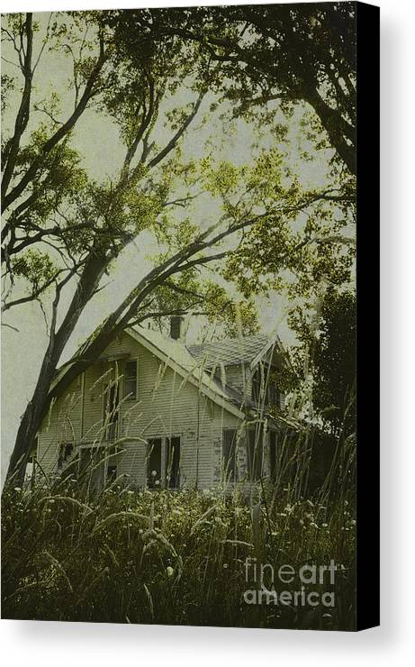 House; Home; Small; Farm House; Wood; Falling Apart; Weeds; Grasses; Trees; Secluded; Abandoned; Desolate; Closed; Dark; Darkness; Ominous; Foreboding; Mystery; Mysterious; Deserted; Shroud; Shrouded; Covered; Enclosed; Green Canvas Print featuring the photograph Left In The Trees by Margie Hurwich