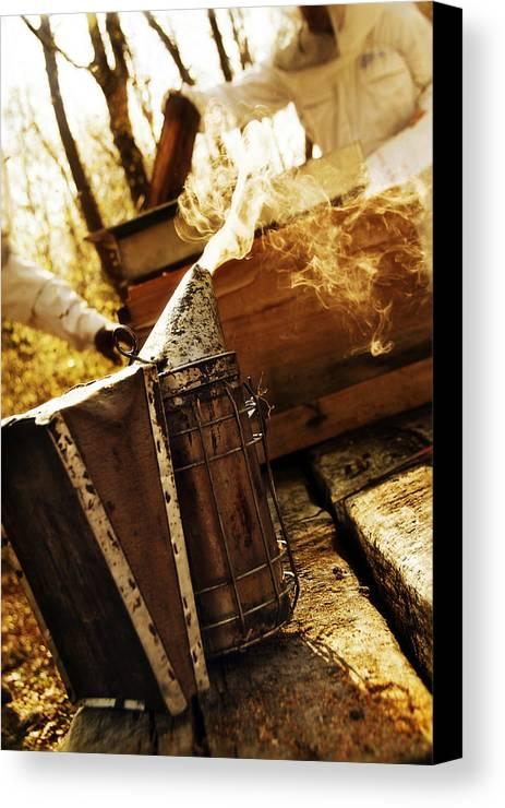 Bee Canvas Print featuring the photograph L'enfumoir by Selke Boris