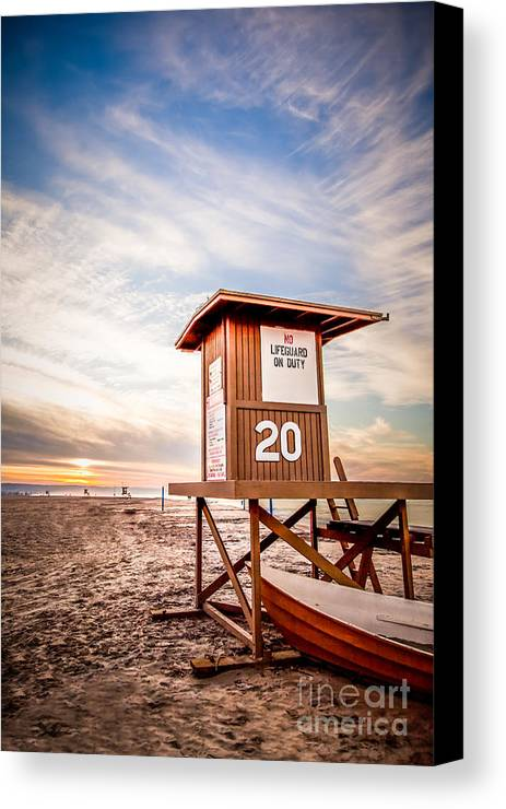 America Canvas Print featuring the photograph Lifeguard Tower 20 Newport Beach Ca Picture by Paul Velgos