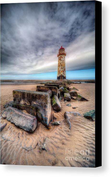 Beach Canvas Print featuring the photograph Lighthouse At Talacre by Adrian Evans