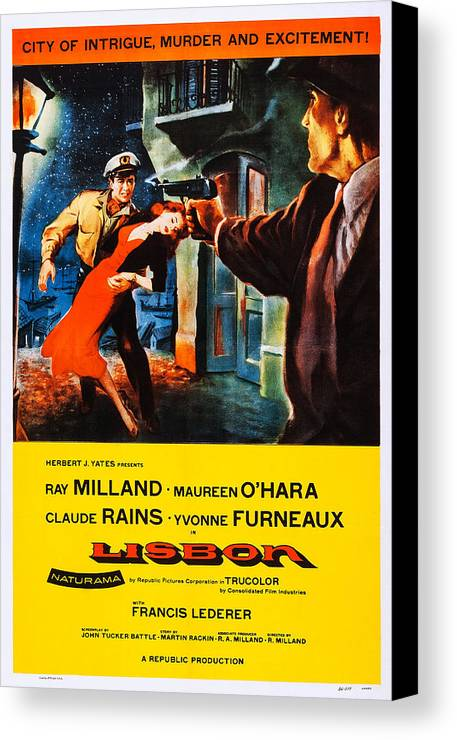 1950s Poster Art Canvas Print featuring the photograph Lisbon, Us Poster Art, Ray Milland by Everett