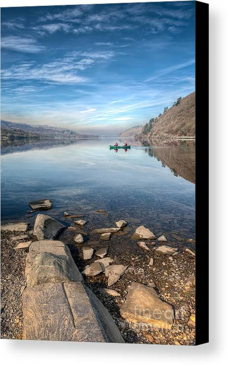 Autumn Canvas Print featuring the photograph Llanberis Lake by Adrian Evans