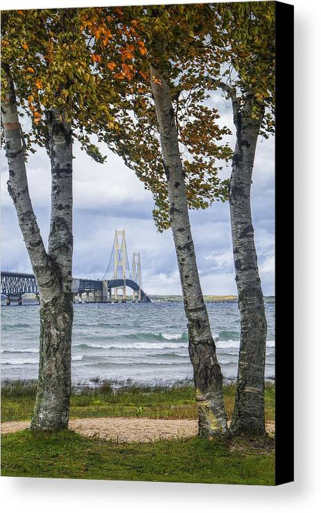 Art Canvas Print featuring the photograph Mackinaw Bridge In Autumn By The Straits Of Mackinac by Randall Nyhof