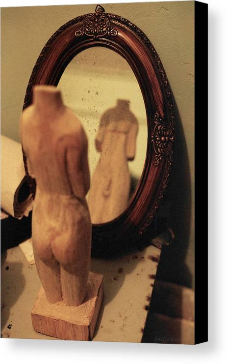 Wood Canvas Print featuring the photograph Man In The Mirror by David Cardona