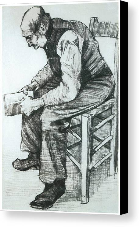 Man Reading The Bible Canvas Print featuring the drawing Man Reading The Bible by Vincent van Gogh