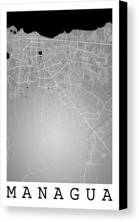 Managua street map managua nicaragua road map art on color canvas road map canvas print featuring the digital art managua street map managua nicaragua road map publicscrutiny Choice Image