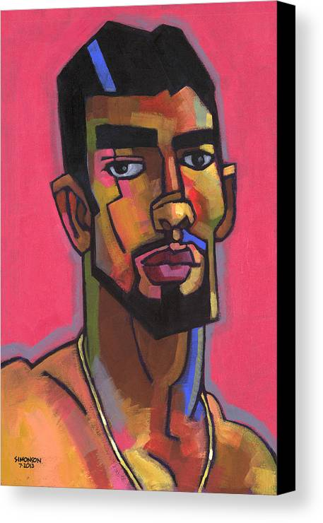 Portrait Canvas Print featuring the painting Marco With Gold Chain by Douglas Simonson